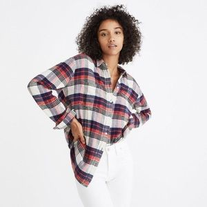 Madewell Oversized Ex-Boyfriend Shirt Baker Plaid